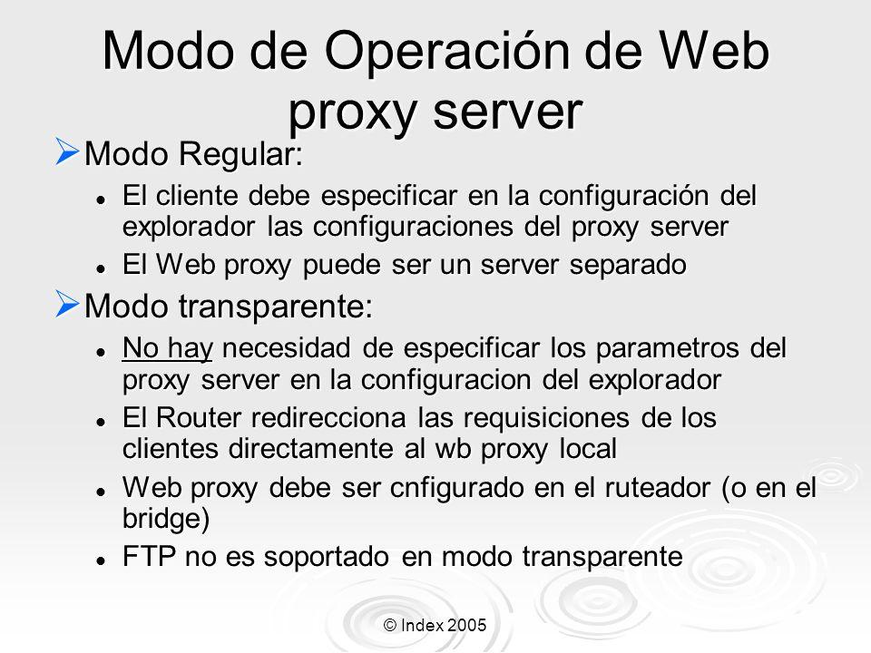 © Index 2005 Modo de Operación de Web proxy server Modo Regular: Modo Regular: El cliente debe especificar en la configuración del explorador las conf
