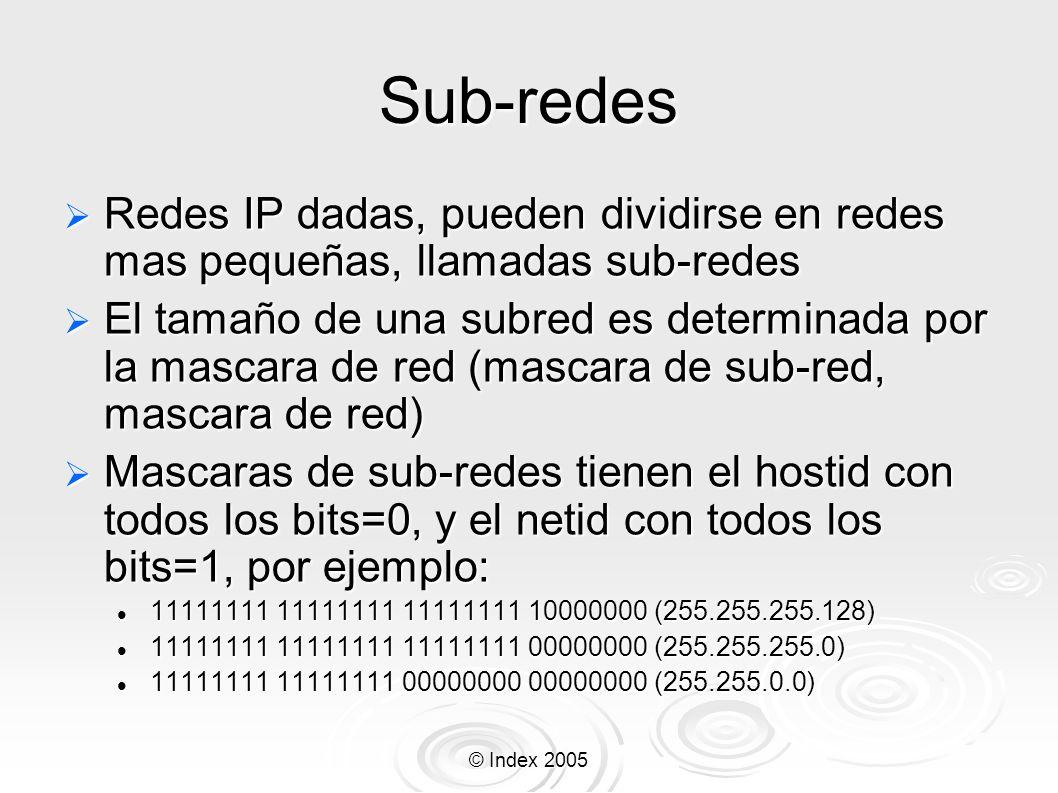 © Index 2005 Sub-redes Redes IP dadas, pueden dividirse en redes mas pequeñas, llamadas sub-redes Redes IP dadas, pueden dividirse en redes mas pequeñ