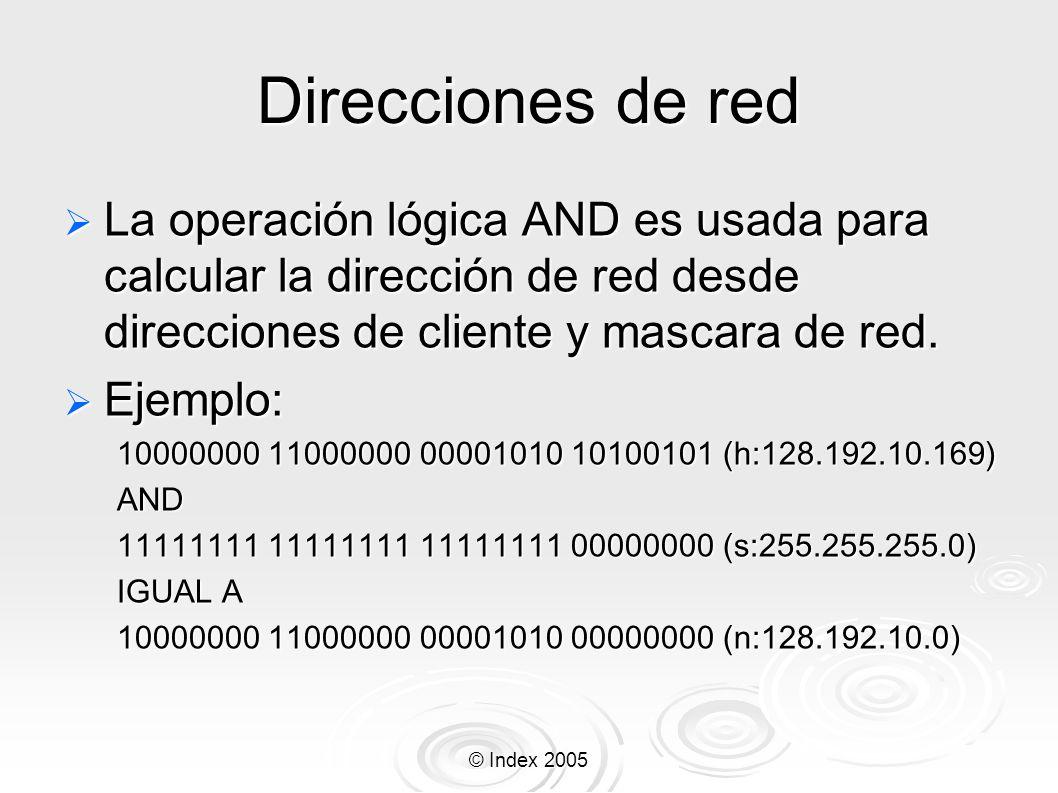 © Index 2005 Direcciones de red La operación lógica AND es usada para calcular la dirección de red desde direcciones de cliente y mascara de red. La o