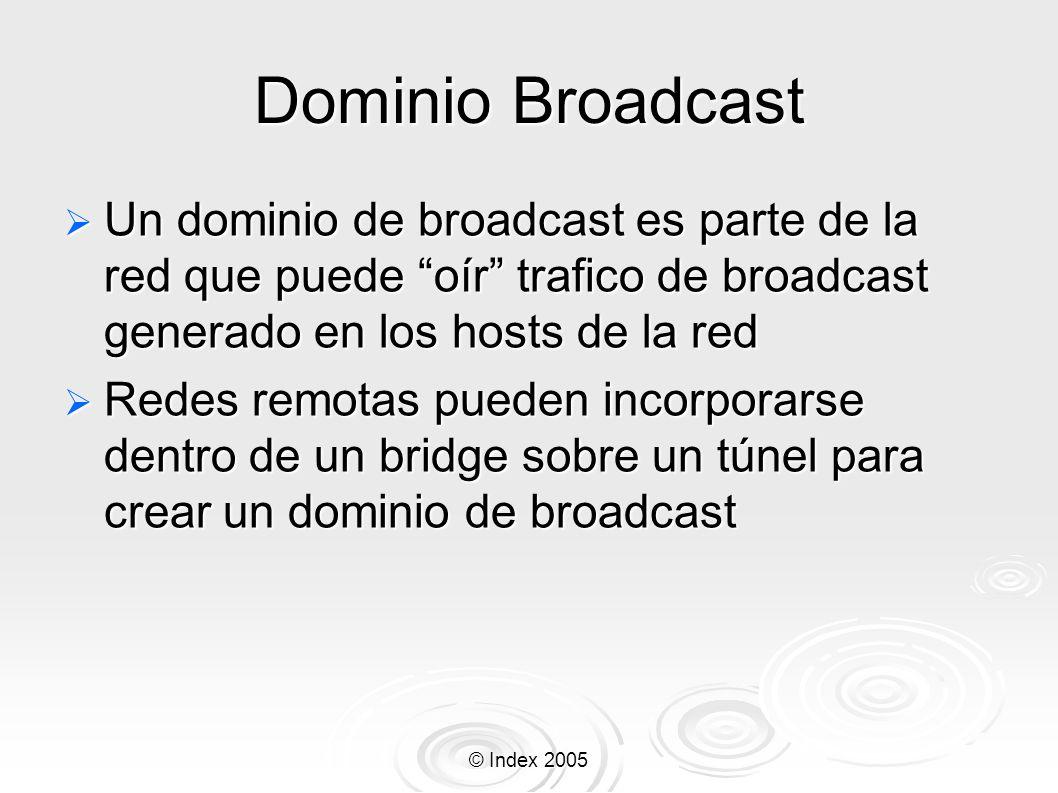 © Index 2005 Dominio Broadcast Un dominio de broadcast es parte de la red que puede oír trafico de broadcast generado en los hosts de la red Un domini