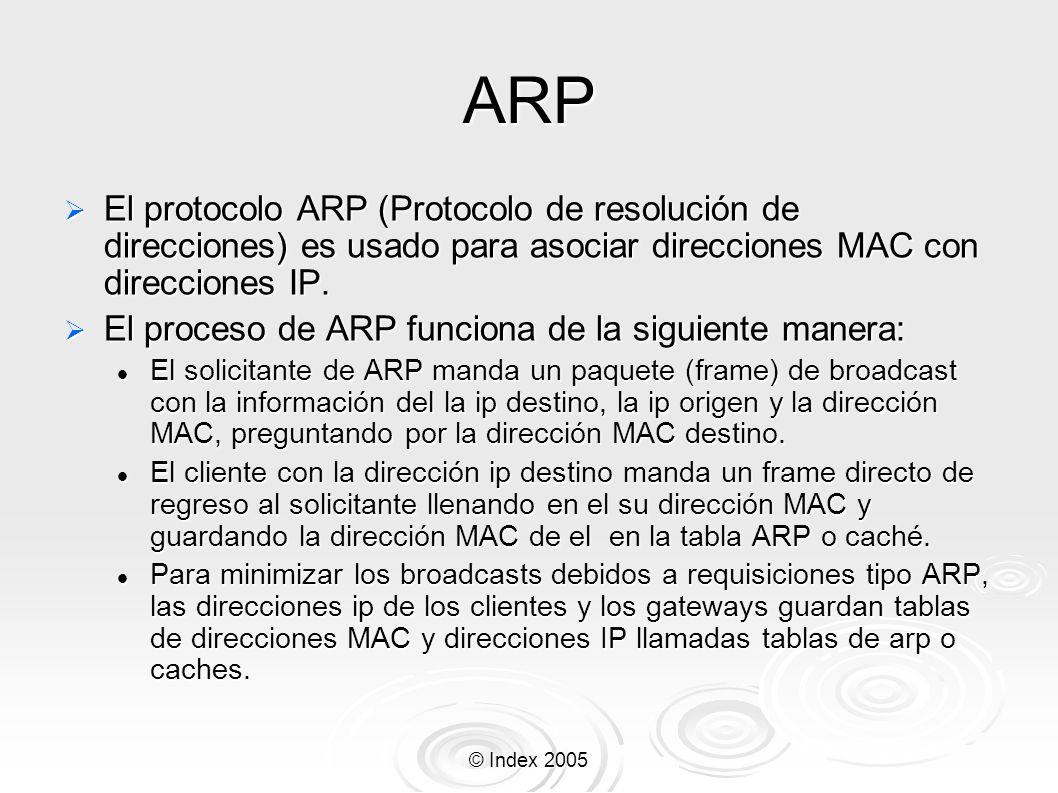 © Index 2005 ARP El protocolo ARP (Protocolo de resolución de direcciones) es usado para asociar direcciones MAC con direcciones IP. El protocolo ARP