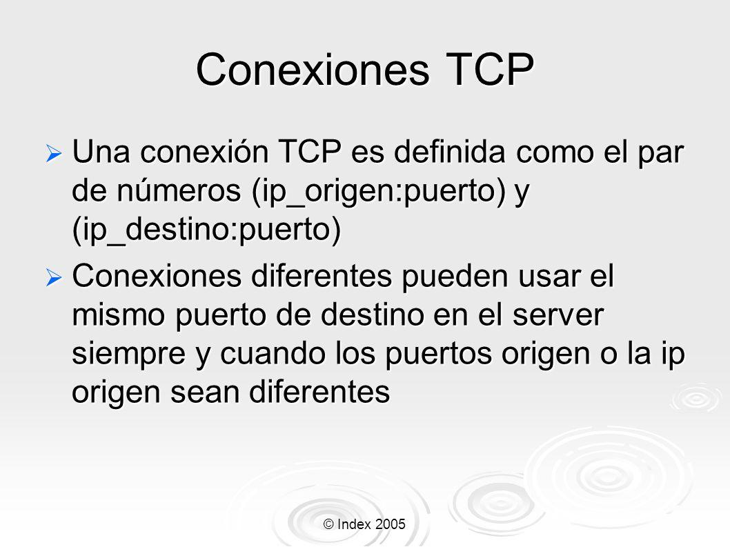 © Index 2005 Conexiones TCP Una conexión TCP es definida como el par de números (ip_origen:puerto) y (ip_destino:puerto) Una conexión TCP es definida