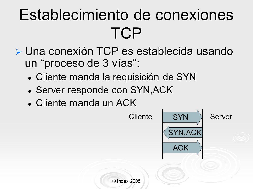 © Index 2005 Establecimiento de conexiones TCP Una conexión TCP es establecida usando un proceso de 3 vías: Una conexión TCP es establecida usando un