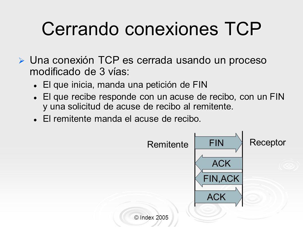 © Index 2005 Cerrando conexiones TCP Una conexión TCP es cerrada usando un proceso modificado de 3 vías: Una conexión TCP es cerrada usando un proceso