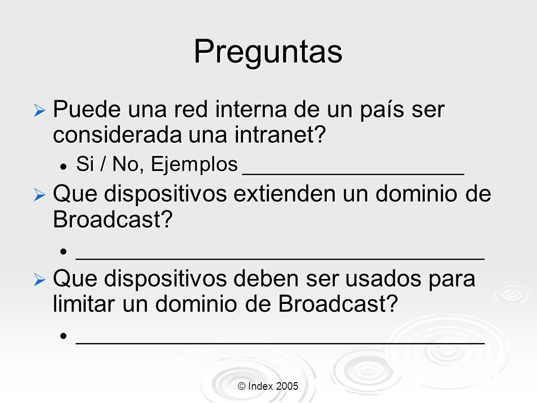 © Index 2005 Preguntas Puede una red interna de un país ser considerada una intranet? Puede una red interna de un país ser considerada una intranet? S