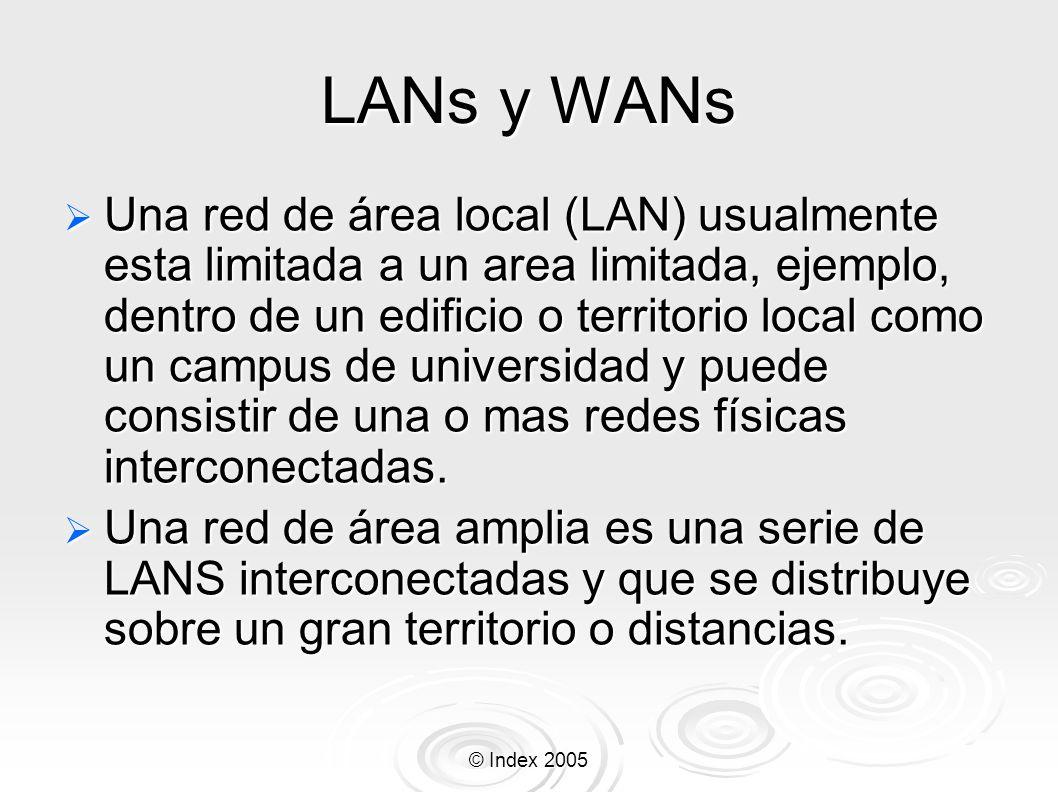© Index 2005 LANs y WANs Una red de área local (LAN) usualmente esta limitada a un area limitada, ejemplo, dentro de un edificio o territorio local co