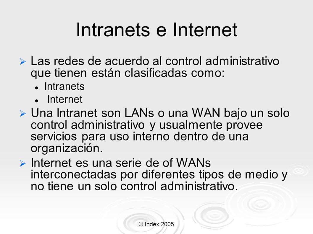 © Index 2005 Intranets e Internet Las redes de acuerdo al control administrativo que tienen están clasificadas como: Las redes de acuerdo al control a