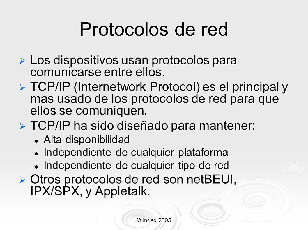 © Index 2005 Protocolos de red Los dispositivos usan protocolos para comunicarse entre ellos. Los dispositivos usan protocolos para comunicarse entre