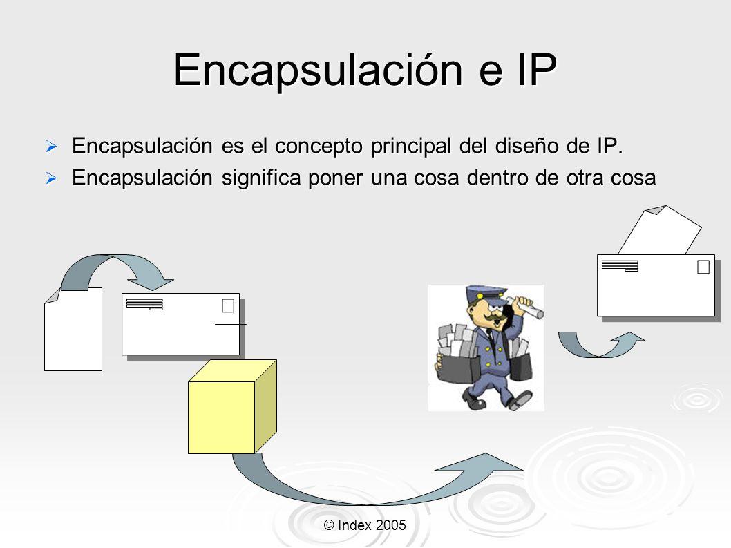 © Index 2005 Encapsulación e IP Encapsulación es el concepto principal del diseño de IP. Encapsulación es el concepto principal del diseño de IP. Enca