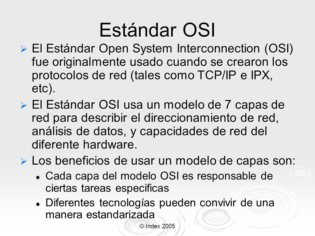 © Index 2005 Estándar OSI El Estándar Open System Interconnection (OSI) fue originalmente usado cuando se crearon los protocolos de red (tales como TC