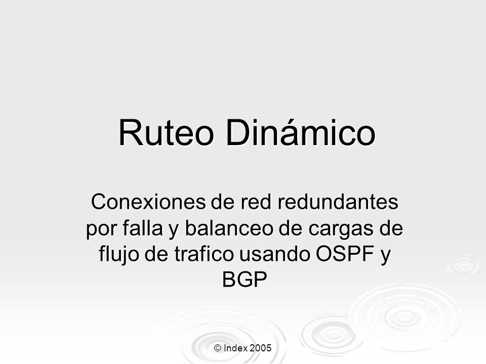 © Index 2005 Ruteo Dinámico Conexiones de red redundantes por falla y balanceo de cargas de flujo de trafico usando OSPF y BGP