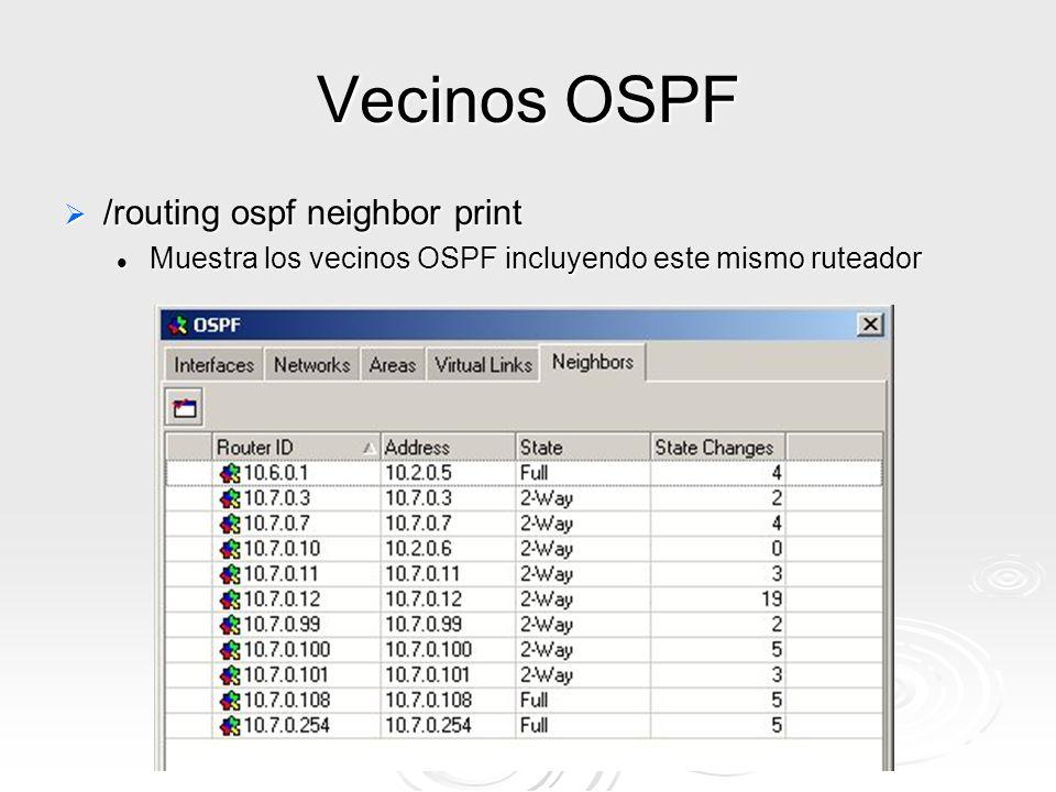 © Index 2005 Vecinos OSPF /routing ospf neighbor print /routing ospf neighbor print Muestra los vecinos OSPF incluyendo este mismo ruteador Muestra los vecinos OSPF incluyendo este mismo ruteador