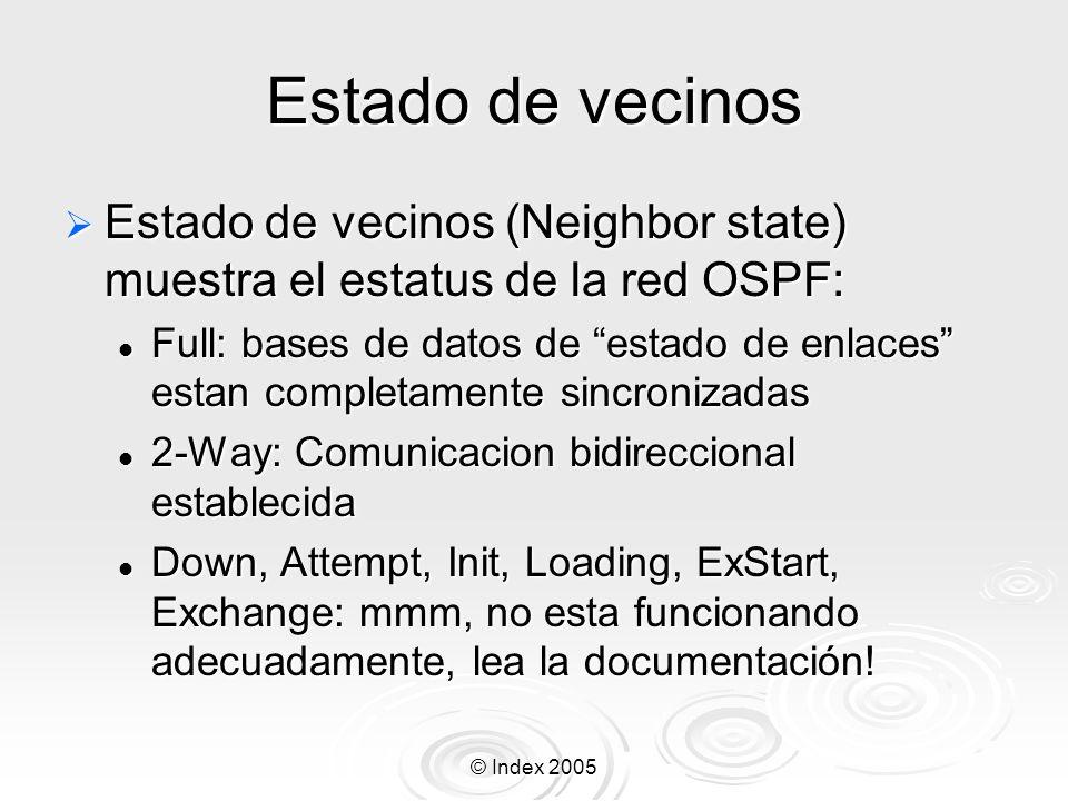 © Index 2005 Estado de vecinos Estado de vecinos (Neighbor state) muestra el estatus de la red OSPF: Estado de vecinos (Neighbor state) muestra el estatus de la red OSPF: Full: bases de datos de estado de enlaces estan completamente sincronizadas Full: bases de datos de estado de enlaces estan completamente sincronizadas 2-Way: Comunicacion bidireccional establecida 2-Way: Comunicacion bidireccional establecida Down, Attempt, Init, Loading, ExStart, Exchange: mmm, no esta funcionando adecuadamente, lea la documentación.