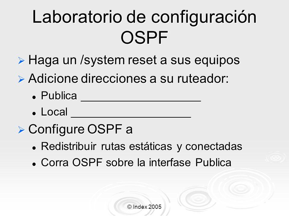 © Index 2005 Laboratorio de configuración OSPF Haga un /system reset a sus equipos Haga un /system reset a sus equipos Adicione direcciones a su ruteador: Adicione direcciones a su ruteador: Publica ___________________ Publica ___________________ Local ___________________ Local ___________________ Configure OSPF a Configure OSPF a Redistribuir rutas estáticas y conectadas Redistribuir rutas estáticas y conectadas Corra OSPF sobre la interfase Publica Corra OSPF sobre la interfase Publica