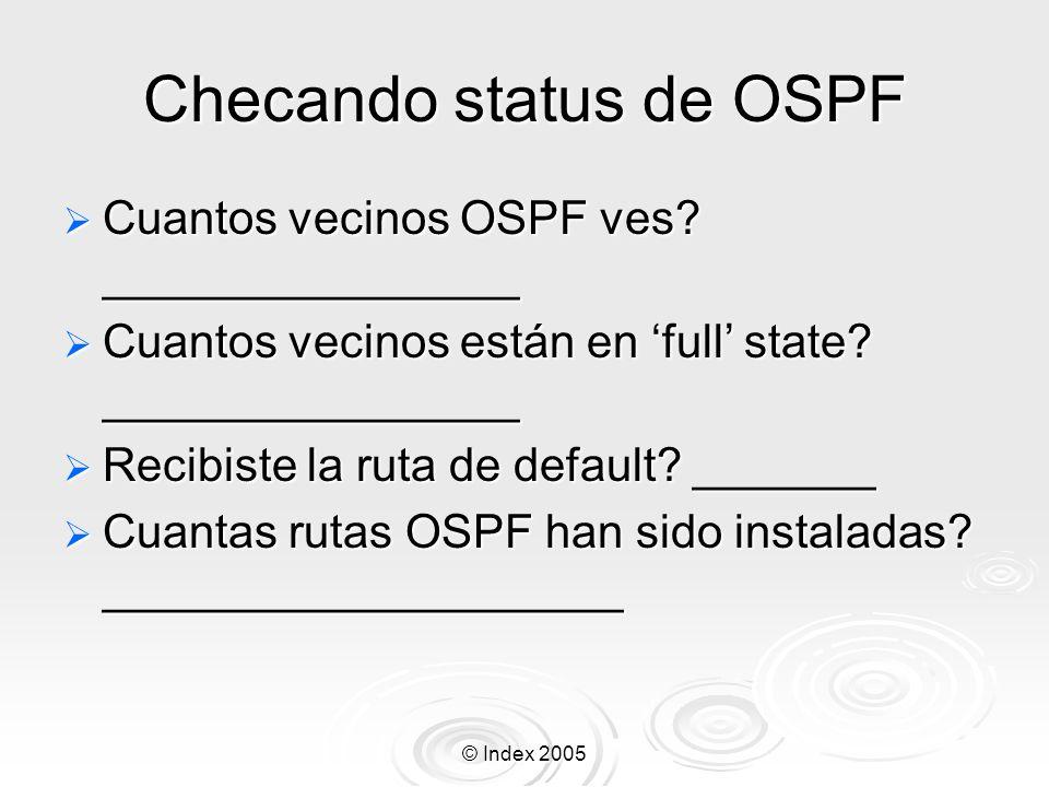 © Index 2005 Checando status de OSPF Cuantos vecinos OSPF ves.