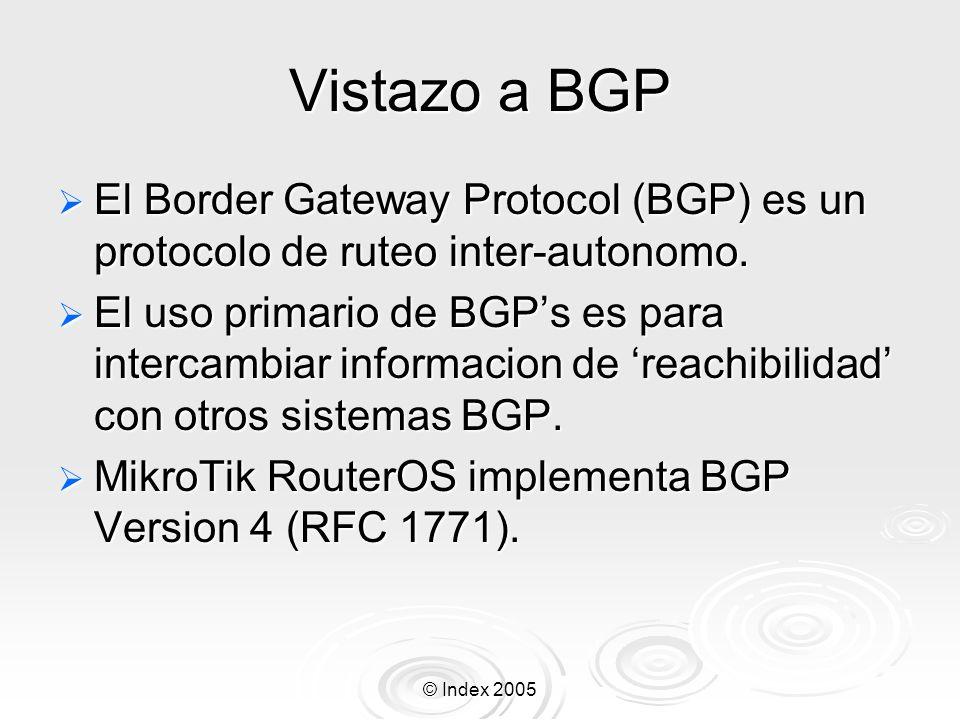 © Index 2005 Vistazo a BGP El Border Gateway Protocol (BGP) es un protocolo de ruteo inter-autonomo.