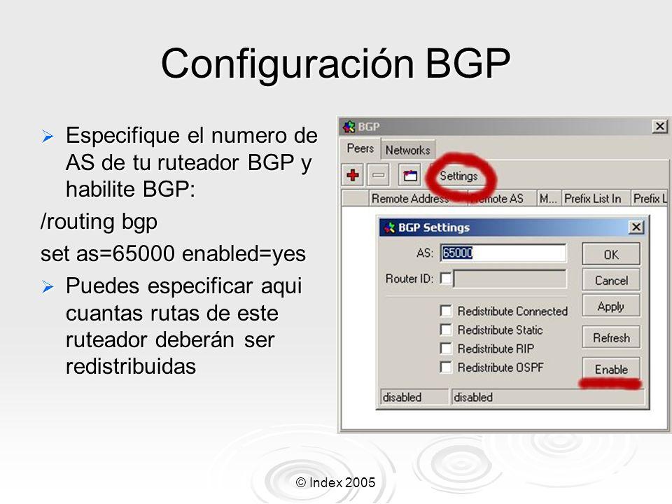 © Index 2005 Configuración BGP Especifique el numero de AS de tu ruteador BGP y habilite BGP: Especifique el numero de AS de tu ruteador BGP y habilite BGP: /routing bgp set as=65000 enabled=yes Puedes especificar aqui cuantas rutas de este ruteador deberán ser redistribuidas Puedes especificar aqui cuantas rutas de este ruteador deberán ser redistribuidas