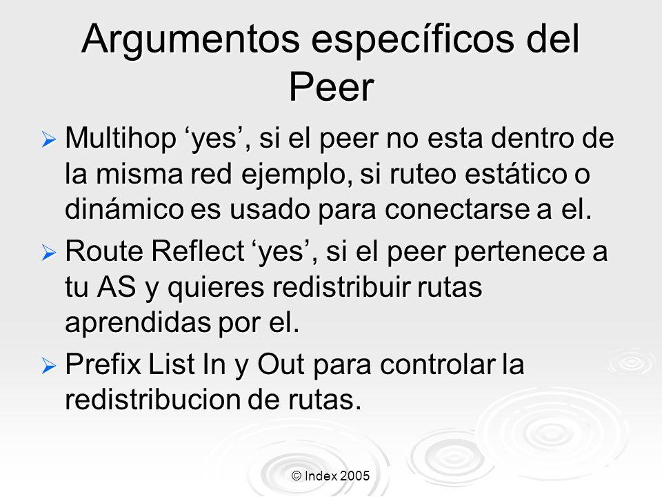 © Index 2005 Argumentos específicos del Peer Multihop yes, si el peer no esta dentro de la misma red ejemplo, si ruteo estático o dinámico es usado para conectarse a el.