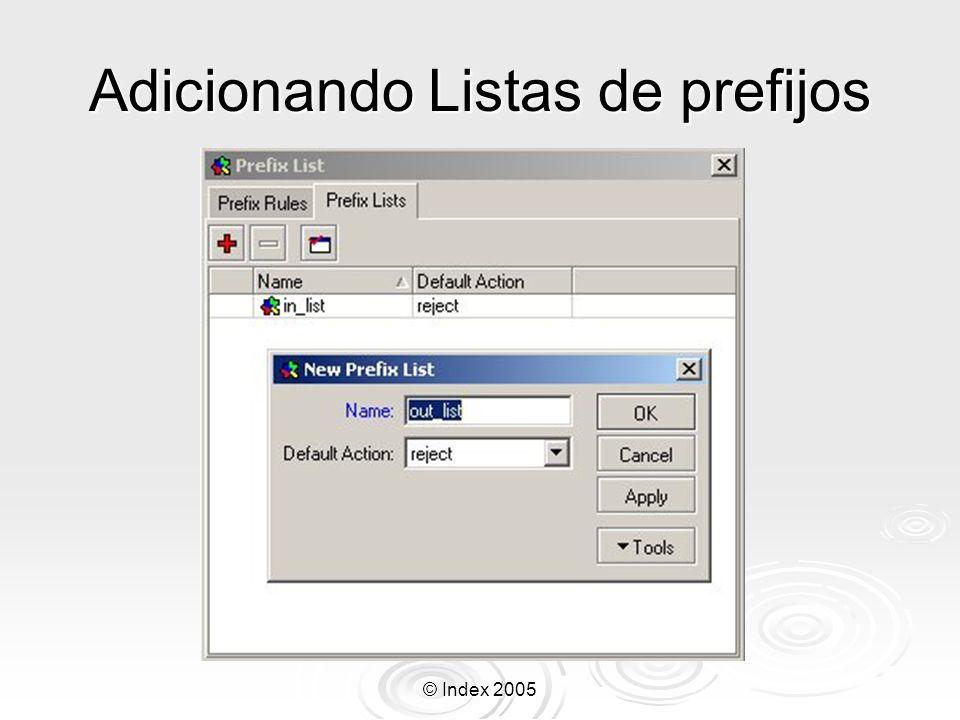 © Index 2005 Adicionando Listas de prefijos