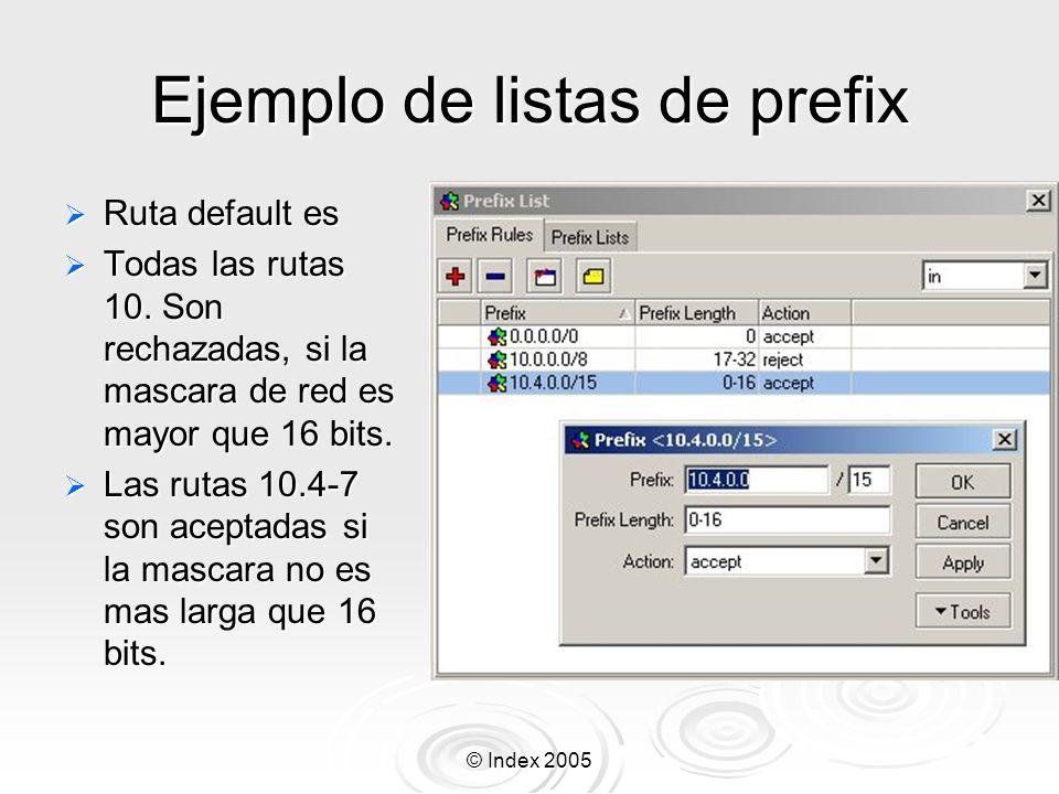 © Index 2005 Ejemplo de listas de prefix Ruta default es Ruta default es Todas las rutas 10.