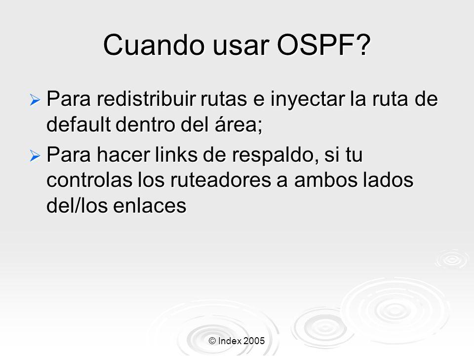 © Index 2005 Cuando usar OSPF.