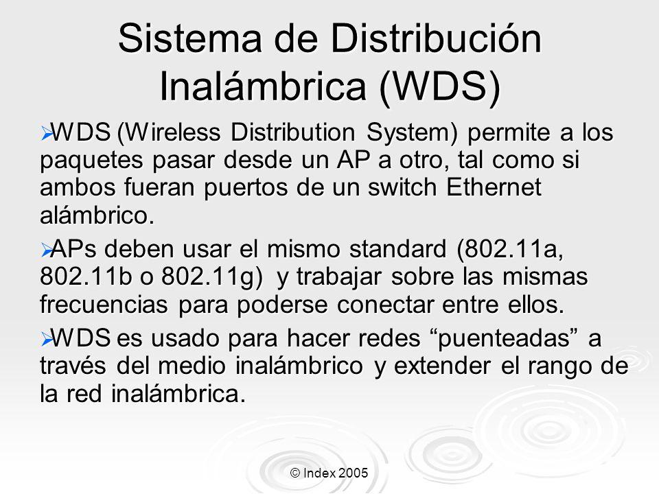 © Index 2005 Sistema de Distribución Inalámbrica (WDS) WDS (Wireless Distribution System) permite a los paquetes pasar desde un AP a otro, tal como si