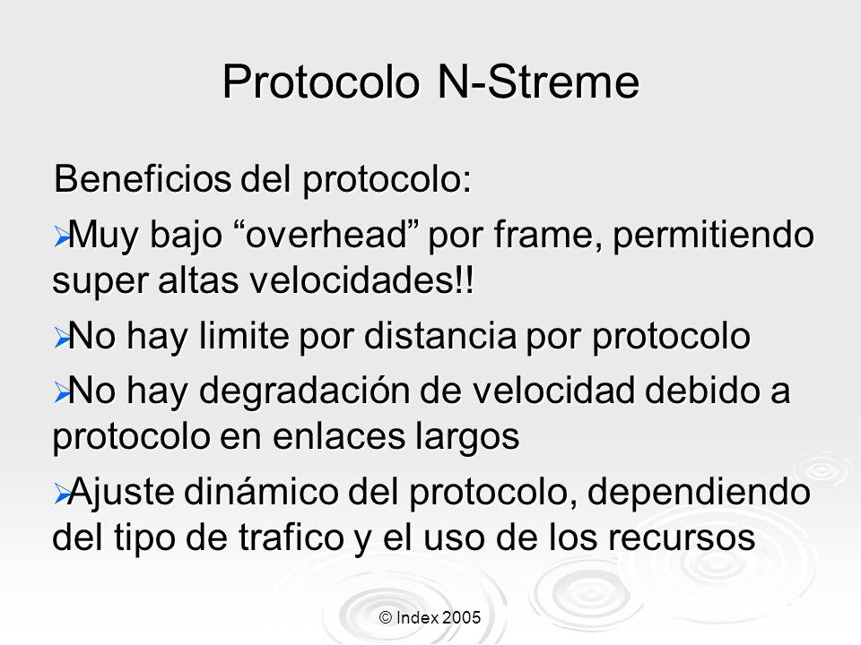 © Index 2005 Protocolo N-Streme Beneficios del protocolo: Muy bajo overhead por frame, permitiendo super altas velocidades!! Muy bajo overhead por fra