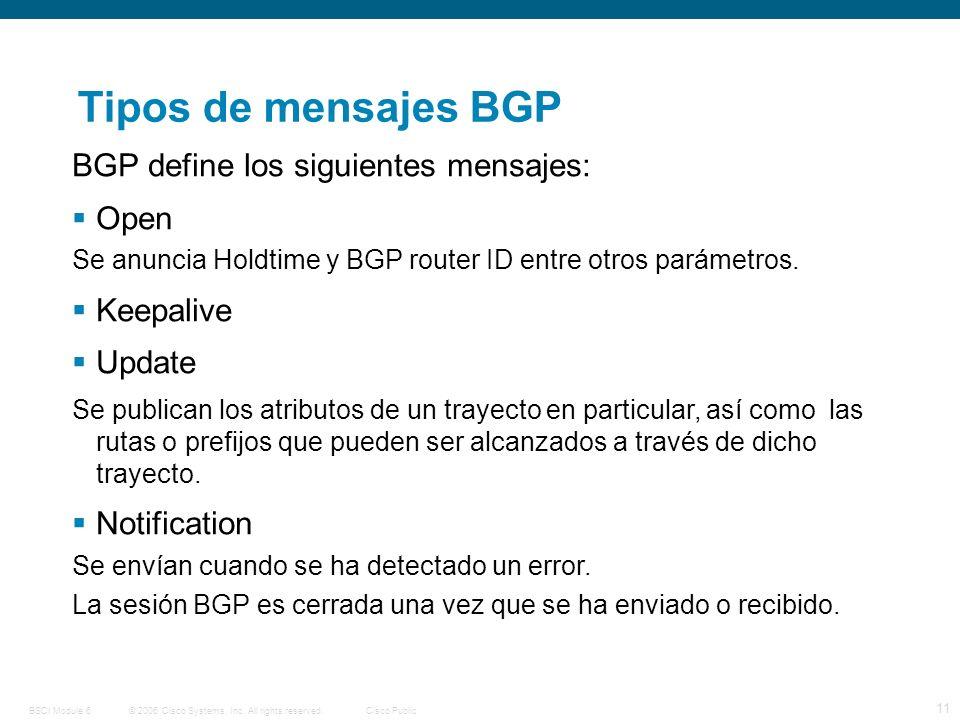 © 2006 Cisco Systems, Inc. All rights reserved.Cisco PublicBSCI Module 6 11 Tipos de mensajes BGP BGP define los siguientes mensajes: Open Se anuncia