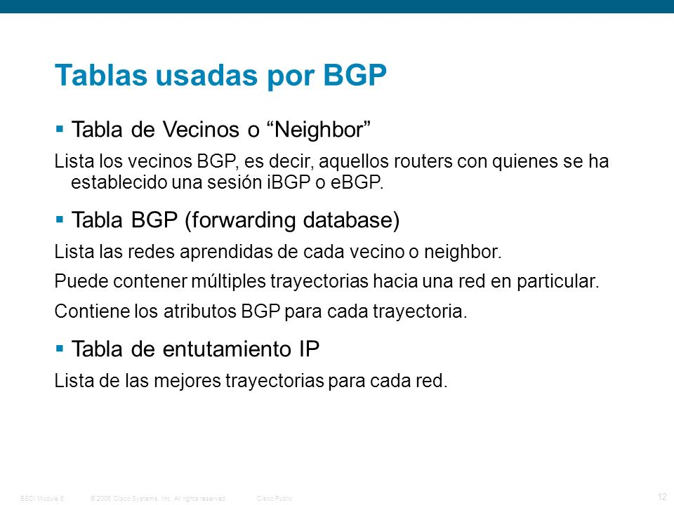 © 2006 Cisco Systems, Inc. All rights reserved.Cisco PublicBSCI Module 6 12 Tablas usadas por BGP Tabla de Vecinos o Neighbor Lista los vecinos BGP, e