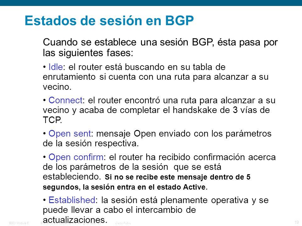 © 2006 Cisco Systems, Inc. All rights reserved.Cisco PublicBSCI Module 6 19 Estados de sesión en BGP Cuando se establece una sesión BGP, ésta pasa por