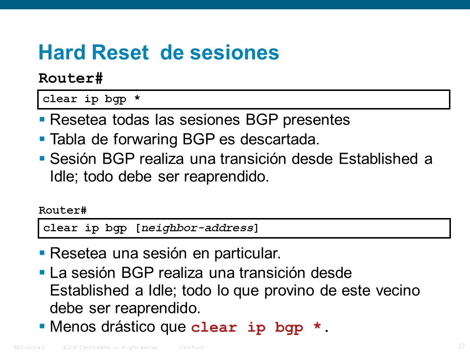 © 2006 Cisco Systems, Inc. All rights reserved.Cisco PublicBSCI Module 6 27 Router# Resetea todas las sesiones BGP presentes Tabla de forwaring BGP es
