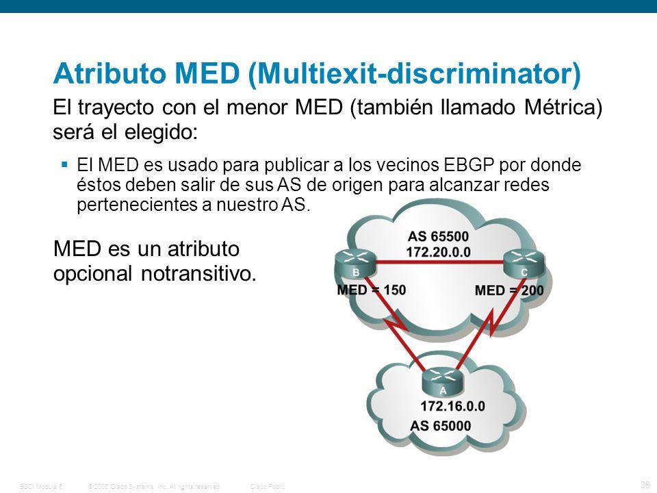 © 2006 Cisco Systems, Inc. All rights reserved.Cisco PublicBSCI Module 6 38 El trayecto con el menor MED (también llamado Métrica) será el elegido: El