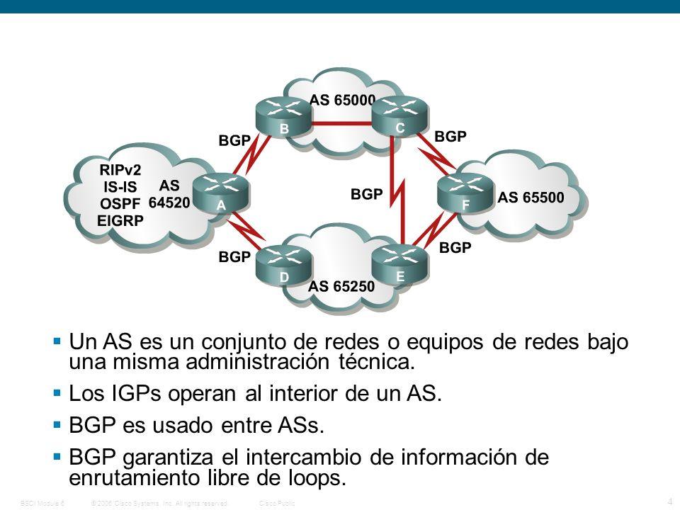 © 2006 Cisco Systems, Inc. All rights reserved.Cisco PublicBSCI Module 6 4 Un AS es un conjunto de redes o equipos de redes bajo una misma administrac