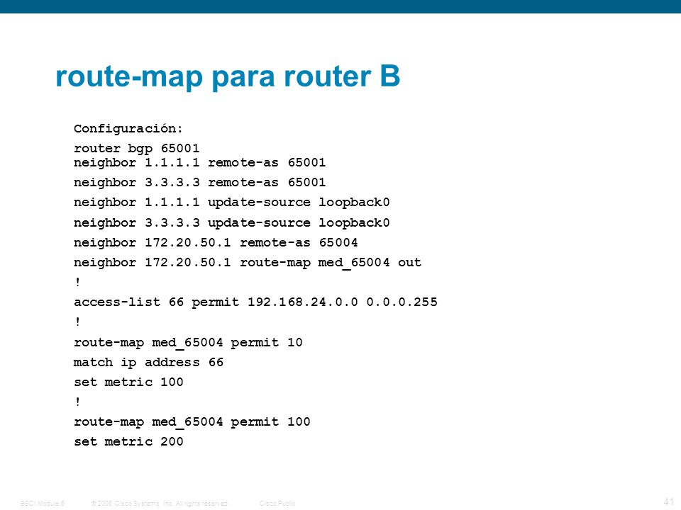 © 2006 Cisco Systems, Inc. All rights reserved.Cisco PublicBSCI Module 6 41 route-map para router B Configuración: router bgp 65001 neighbor 1.1.1.1 r