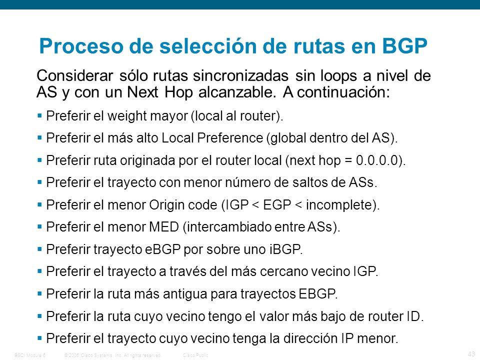 © 2006 Cisco Systems, Inc. All rights reserved.Cisco PublicBSCI Module 6 43 Considerar sólo rutas sincronizadas sin loops a nivel de AS y con un Next