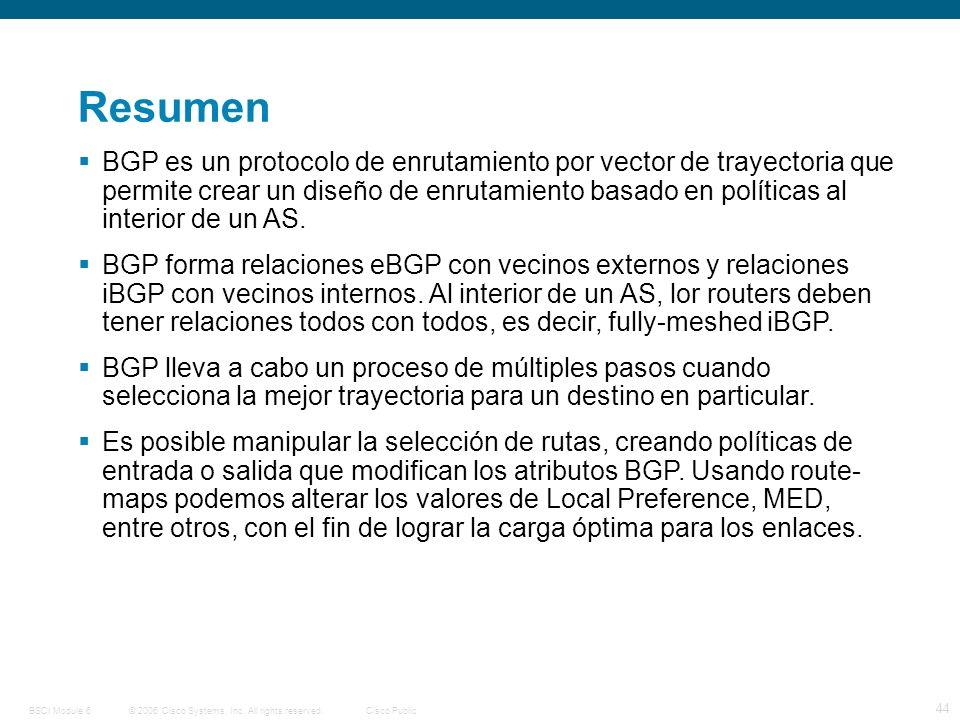 © 2006 Cisco Systems, Inc. All rights reserved.Cisco PublicBSCI Module 6 44 Resumen BGP es un protocolo de enrutamiento por vector de trayectoria que