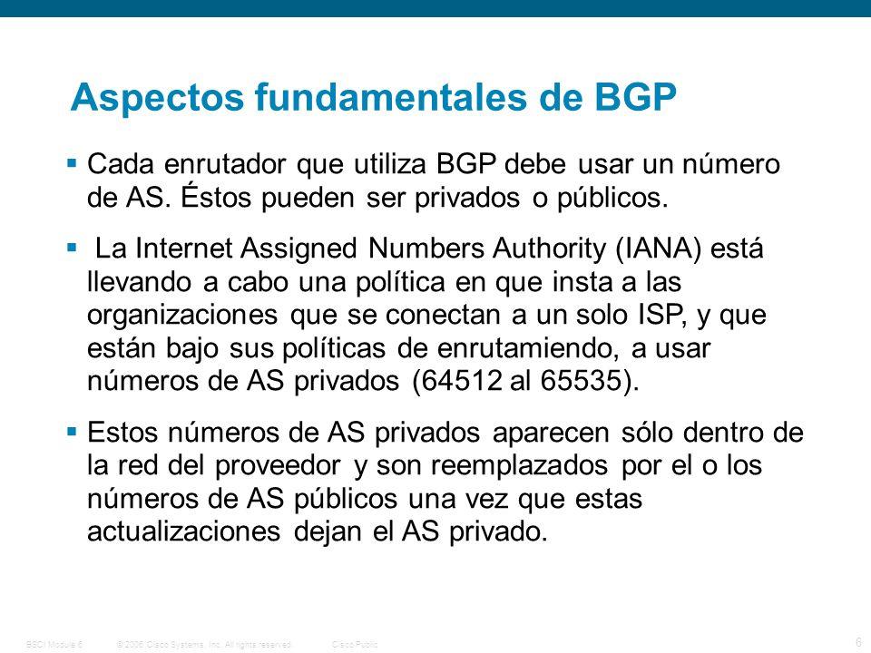 © 2006 Cisco Systems, Inc. All rights reserved.Cisco PublicBSCI Module 6 6 Aspectos fundamentales de BGP Cada enrutador que utiliza BGP debe usar un n