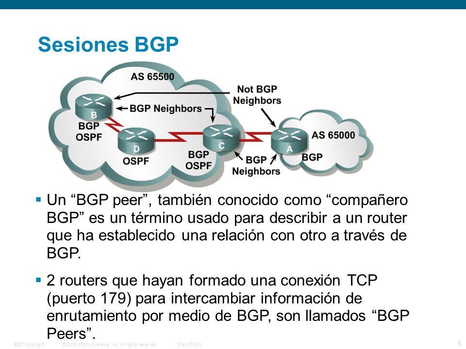 © 2006 Cisco Systems, Inc. All rights reserved.Cisco PublicBSCI Module 6 8 Sesiones BGP Un BGP peer, también conocido como compañero BGP es un término