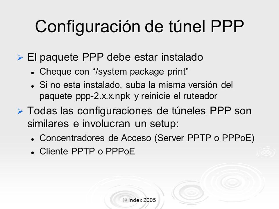 © Index 2005 Configuración de túnel PPP El paquete PPP debe estar instalado El paquete PPP debe estar instalado Cheque con /system package print Chequ