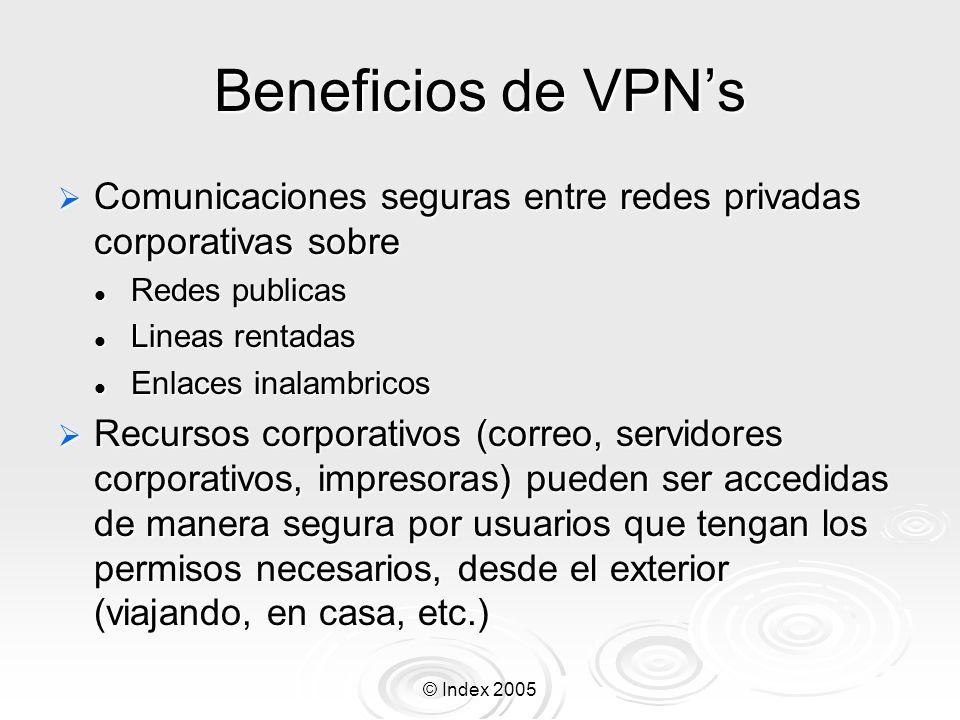 © Index 2005 Beneficios de VPNs Comunicaciones seguras entre redes privadas corporativas sobre Comunicaciones seguras entre redes privadas corporativa