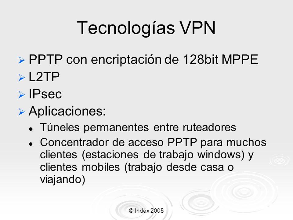 © Index 2005 Tecnologías VPN PPTP con encriptación de 128bit MPPE PPTP con encriptación de 128bit MPPE L2TP L2TP IPsec IPsec Aplicaciones: Aplicacione