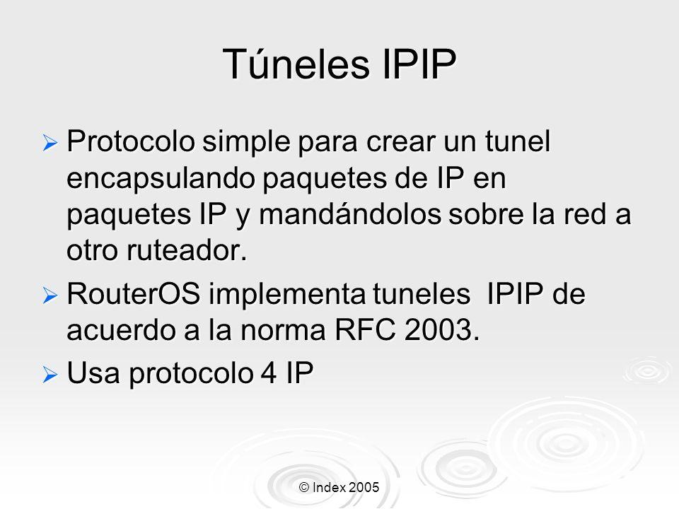 © Index 2005 Configuración del Pool de IP Pool de IP Pool es usado para especificar un rango de direcciones IP las cuales seran entregadas a los clientes de PPTP, PPPoE, DHCP, etc.