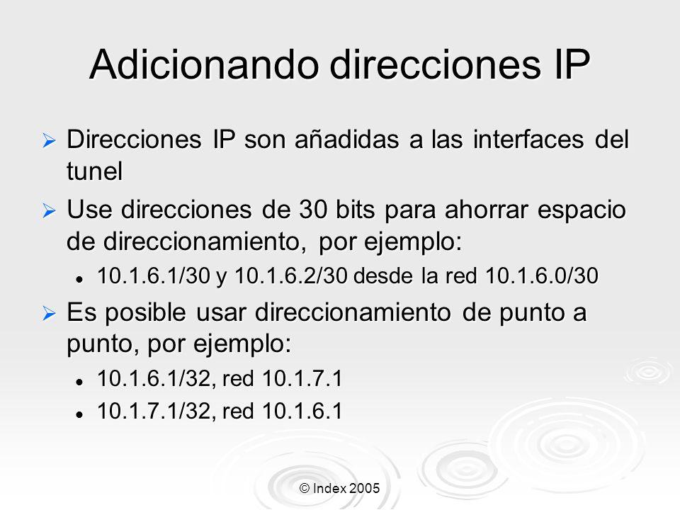 © Index 2005 Configuración de PPTP Habilite el server pptp: Habilite el server pptp: /interface pptp-server server set enabled=yes /interface pptp-server server print Especifique un profile diferente, si es que lo ha creado Especifique un profile diferente, si es que lo ha creado Active las conexiones pptp: Active las conexiones pptp: /interface pptp-server print