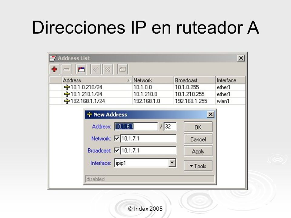 © Index 2005 Configuración del cliente pptp Cambie el profile de default de ppp: Cambie el profile de default de ppp: /ppp profile set default use-encryption=yes require-encryption=yes /ppp profile set default use-encryption=yes require-encryption=yes Adicione un cliente PPTP: Adicione un cliente PPTP: /interface pptp-client add connect- to=192.168.1.1 user=jose password=jose3 /interface pptp-client add connect- to=192.168.1.1 user=jose password=jose3