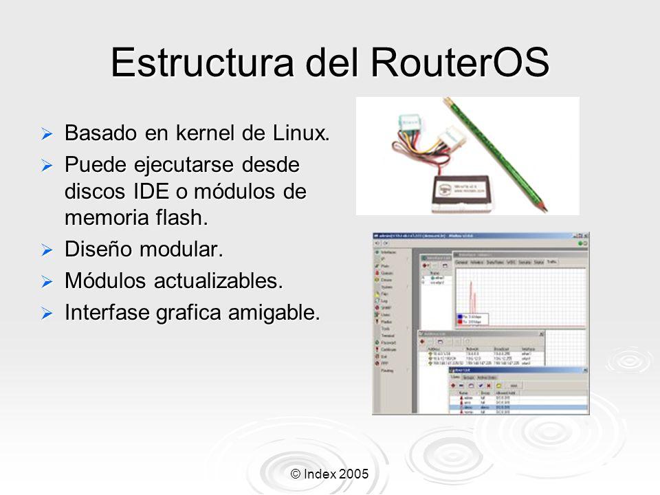 © Index 2005 Actualizando el Router Ponga los archivos de las nuevas versiones en el router por medio de FTP usando modo binario de transmision y reinicie el router /system reboot Ponga los archivos de las nuevas versiones en el router por medio de FTP usando modo binario de transmision y reinicie el router /system reboot Alternativamente puedes usar la instrucción /system upgrade para transferir los archivos desde un server FTP o desde otro ruteador si los tienes ahí.