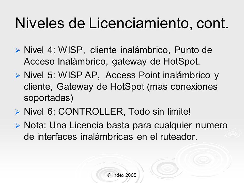 © Index 2005 Interfase bridge Interfaces Bridge son anadidas con el comando: Interfaces Bridge son anadidas con el comando: [MikroTik] > /interface bridge add Puede haber mas de una interfase Bridge Puede haber mas de una interfase Bridge Tu puedes Tu puedes Cambiar el nombre de la interfase Bridge; Cambiar el nombre de la interfase Bridge; Habilitar el STP (Spanning Tree Protocol) y configurarlo Habilitar el STP (Spanning Tree Protocol) y configurarlo Activar los protocolos a pasar de un bridge a otro.