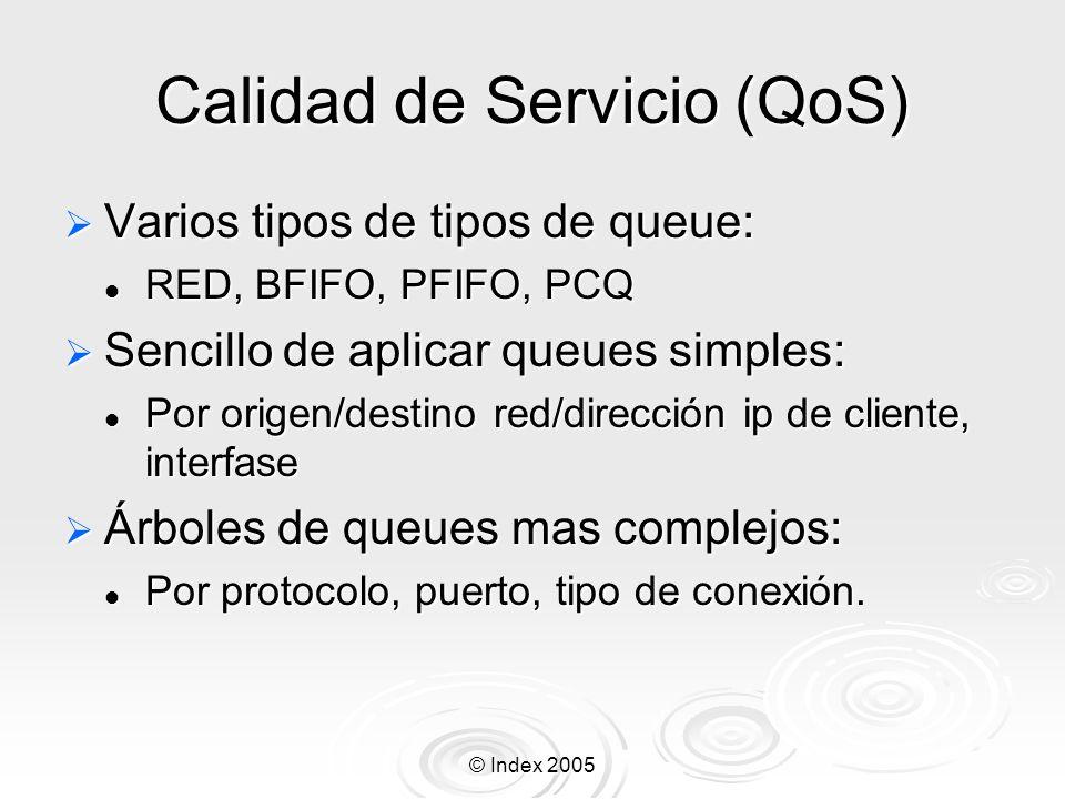 © Index 2005 Interfaces del RouterOS Ethernet 10/100, Gigabit Ethernet 10/100, Gigabit Inalámbrica (Atheros, Prism, CISCO/Aironet) Inalámbrica (Atheros, Prism, CISCO/Aironet) Punto de acceso o modo estación/cliente, WDS Punto de acceso o modo estación/cliente, WDS Síncronas: V35, T1, Frame Relay Síncronas: V35, T1, Frame Relay Asíncronas: Onboard serial, 8-port PCI Asíncronas: Onboard serial, 8-port PCI ISDN ISDN xDSL xDSL Virtual LAN (VLAN) Virtual LAN (VLAN)