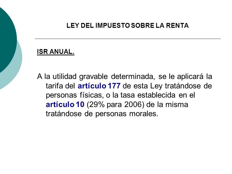 LEY DEL IMPUESTO SOBRE LA RENTA ISR ANUAL. A la utilidad gravable determinada, se le aplicará la tarifa del artículo 177 de esta Ley tratándose de per