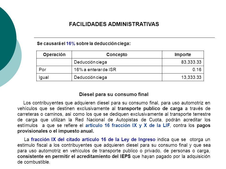 Se causará el 16% sobre la deducción ciega: OperaciónConceptoImporte Deducción ciega83,333.33 Por16% a enterar de ISR0.16 IgualDeducción ciega13,333.3
