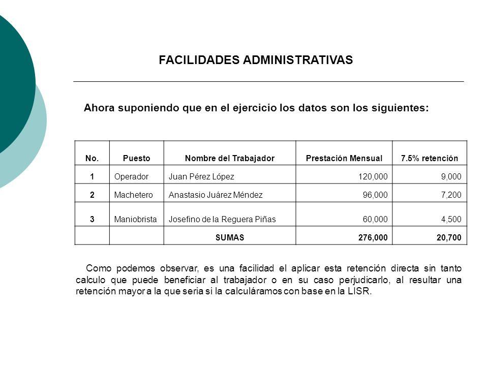 Ahora suponiendo que en el ejercicio los datos son los siguientes: No.PuestoNombre del TrabajadorPrestación Mensual7.5% retención 1OperadorJuan Pérez
